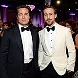 Pictured: Brad Pitt and Ryan Gosling