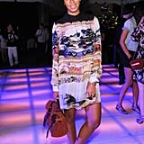 Solange Knowles steps on to the dance floor in a printed mini dress.