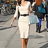 Miranda Kerr wore a fitted white dress out in NYC.