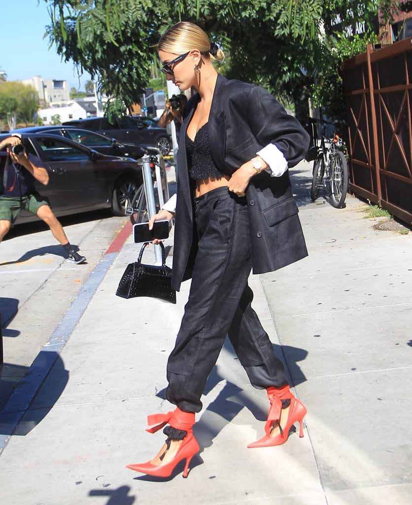 Hailey Baldwin Wearing Red Heels in LA