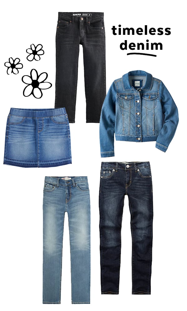 For kids especially, a solid stack of jeans is key. Remember that these are the pants your child probably wears most often, so focus on quality and diversity, stocking up on various washes, fits, and styles.