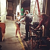 Lena Dunham directed pantsless on the set of Girls. Source: Instagram user lenadunham