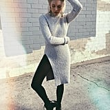 A Sweater Dress, Black Tights, and Booties
