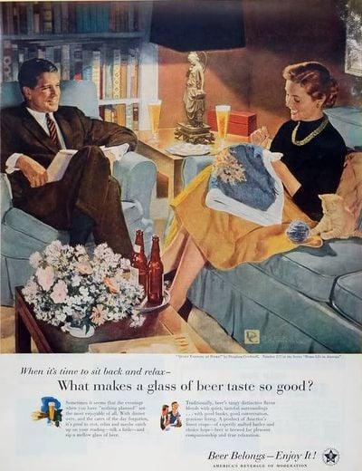 this 1950s ad for the entire beer industry makes a more subtle appeal vintage beer ads for. Black Bedroom Furniture Sets. Home Design Ideas