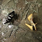 Shoes and shattered glass are left after a Debenhams store was looted in London.