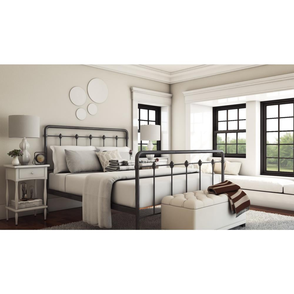 All-In-1 Metal Queen-Size Curve Headboard and Bed Frame ($172)