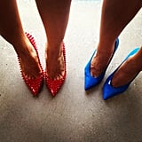 Pip Edwards and Connie Mitchells' amaze shoes were flying the flag for Aussie Week! Source: Instagram user pip_edwards1