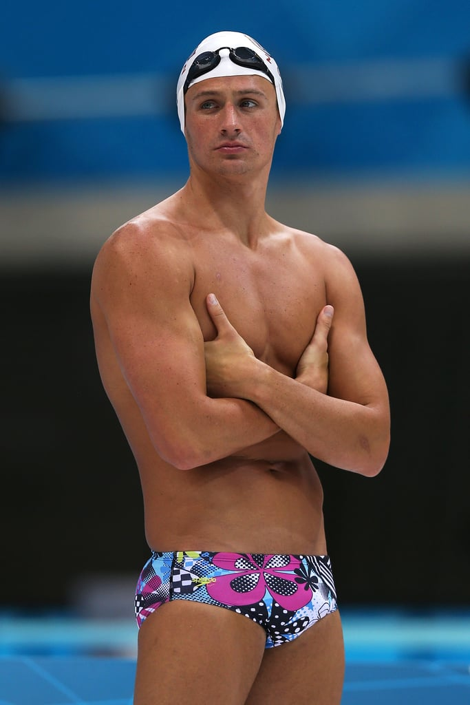 Ryan Lochte modeled a flowery Speedo during training session days before the 2012 Olympics.