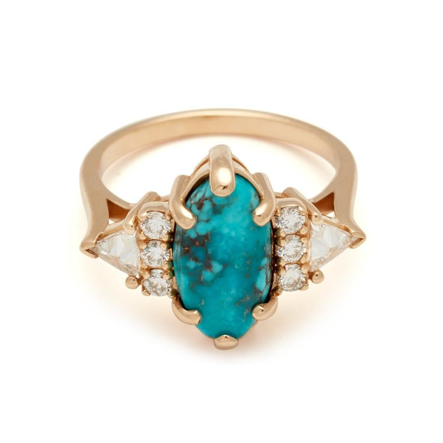 Stardust Turquoise Marquise Bea Ring Yellow Gold and White Diamonds