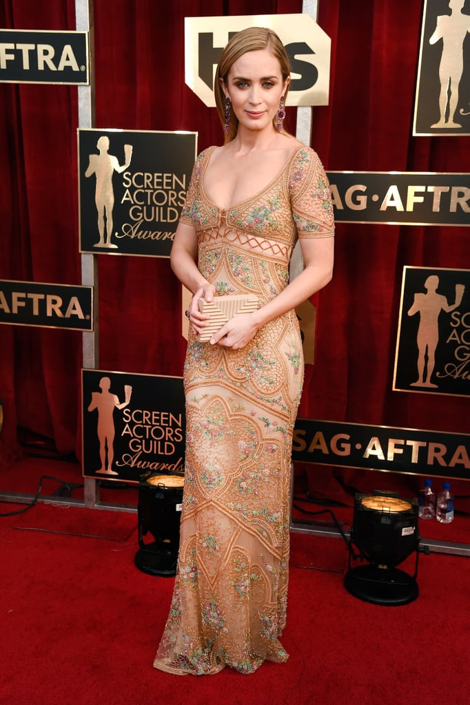 Emily Blunt S Roberto Cavalli Dress Sag Awards 2017