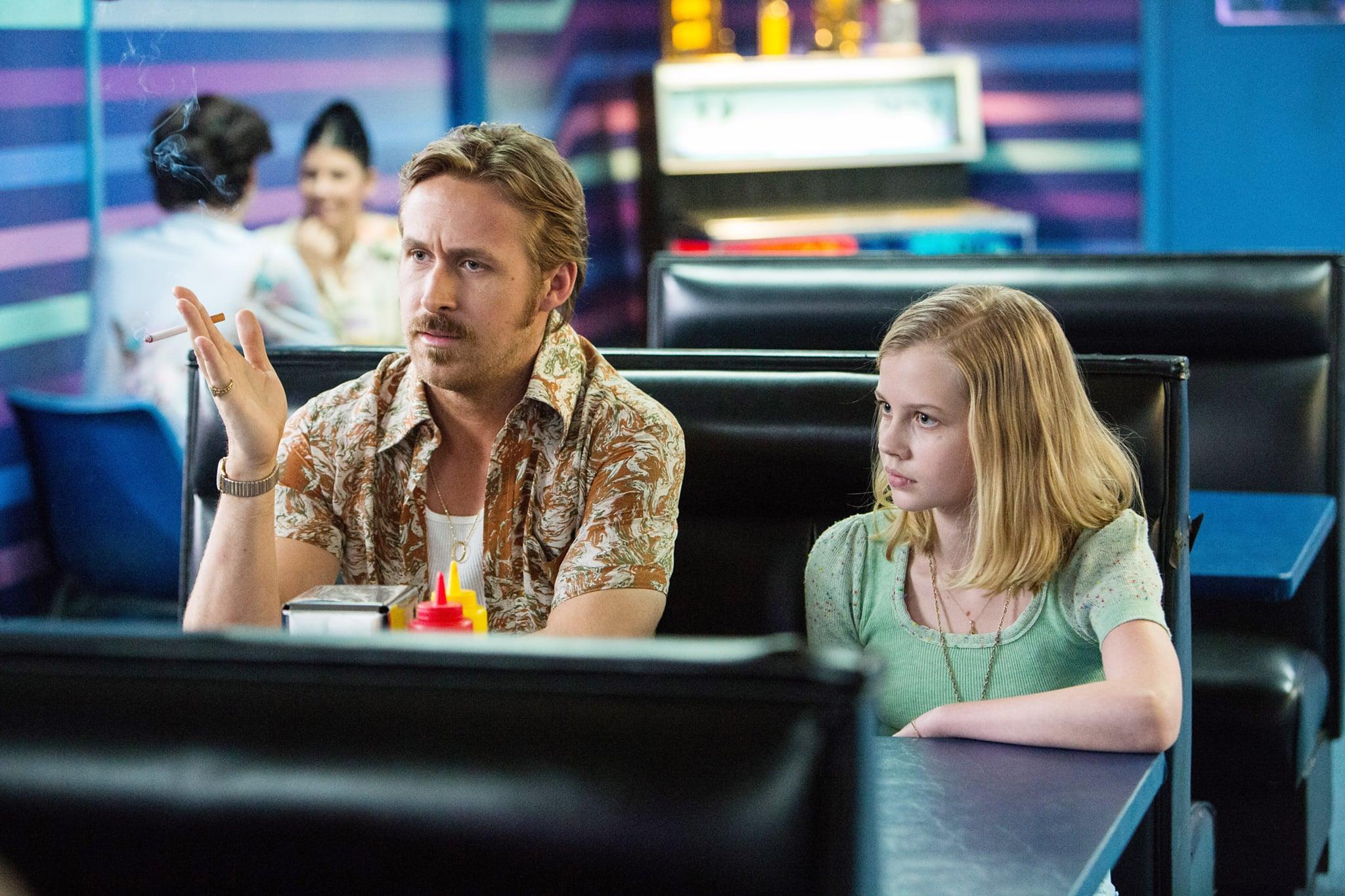 THE NICE GUYS, from left: Ryan Gosling, Angourie Rice, 2016. ph: Daniel McFadden /  Warner Bros. / courtesy Everett Collection