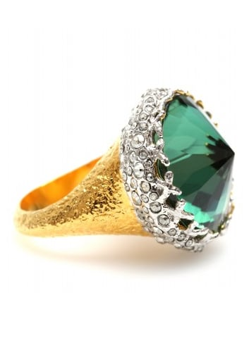 An eye-catching cocktail ring showcasing a gorgeous emerald-green stone.  Alexis Bittar Pave Accented Gold Crown Ring ($186, originally $309)