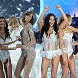 Adriana Lima, Doutzen Kroes, Lily Aldridge, Karlie Kloss, and Candice Swanepoel had a party on the stage.