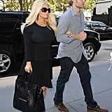 Jessica Simpson wore a fitted black dress.