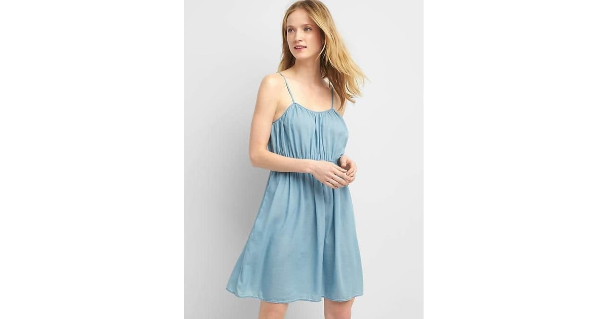 29f350a011 Gap Denim Shirred Tank Dress