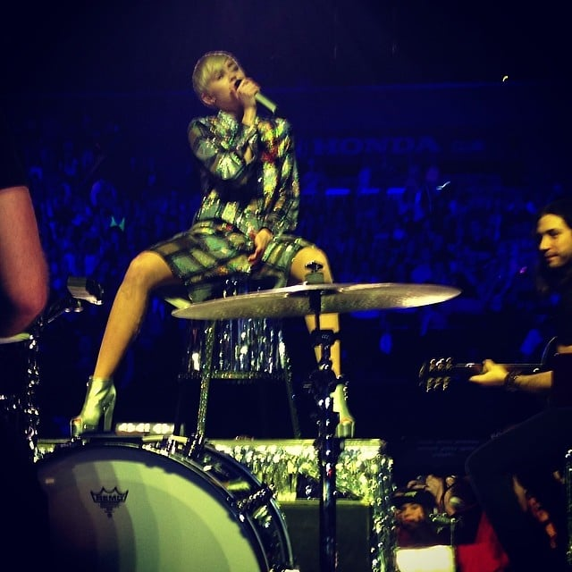 """Madonna shared an """"up close and personal"""" shot of Miley Cyrus performing in Brooklyn. Source: Instagram user madonna"""