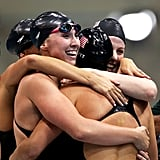 Shannon Vreeland, Dana Vollmer, Missy Franklin, and Allison Schmitt swam to victory against Australia in the 4x200m relay.