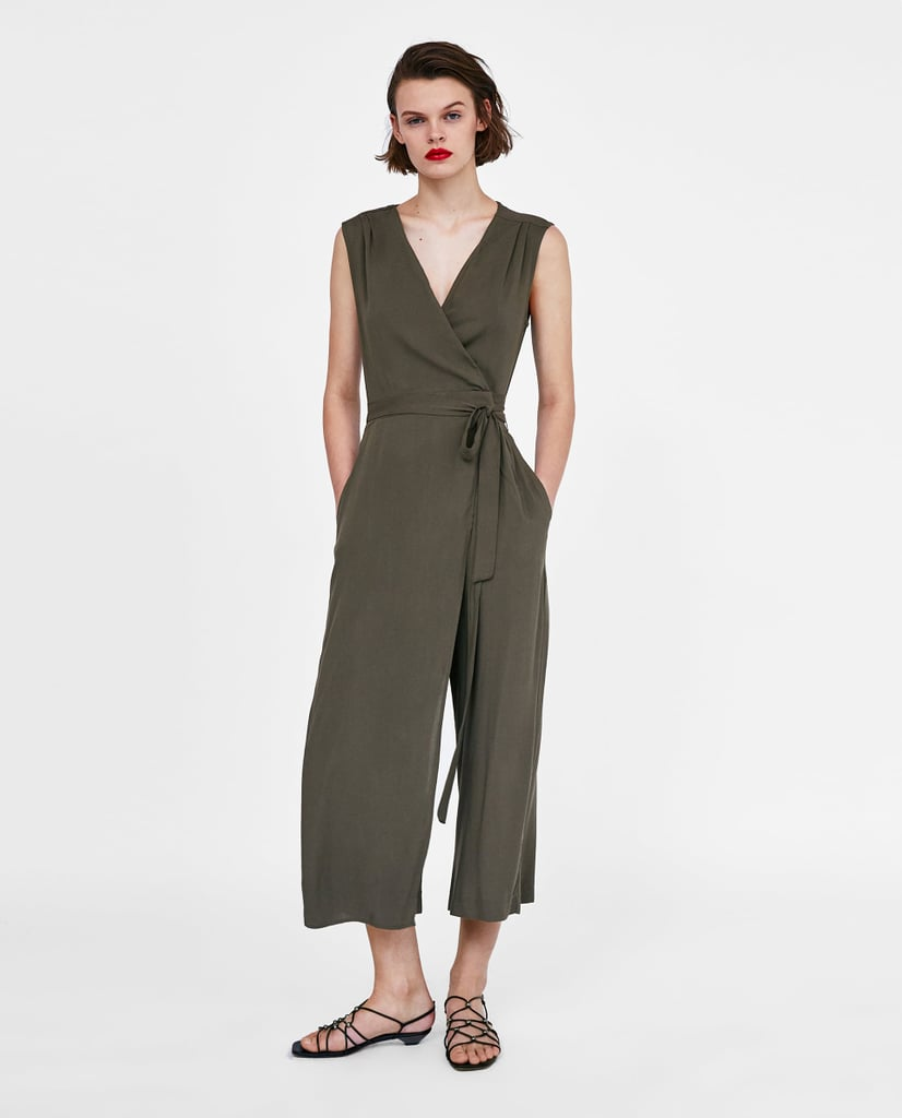Zara Loose-Fitting Wrap Jumpsuit