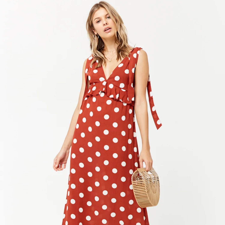 cf9ed31561c SheIn Flounce Sleeve Ditsy Print Wrap Dress