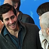 Jake Gyllenhaal laughed with Charlotte Gainsbourg.