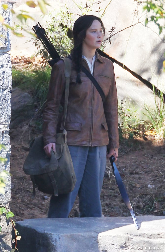 Jennifer Lawrence wielded a bow and arrows while on set in Georgia.