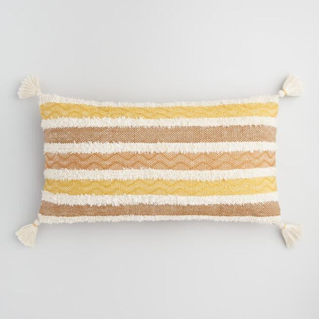 Oversized Golden Yellow Stripe Indoor Outdoor Lumbar Pillow