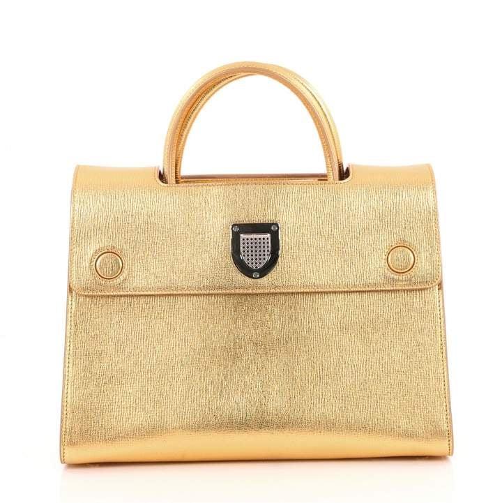 Christian Dior Gold Leather Handbag | Queen Elizabeth's Gold Launer