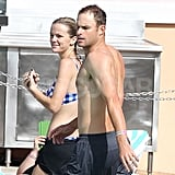 Brooklyn Decker and Andy Roddick were side by side for a pool day at their hotel in the Bahamas.