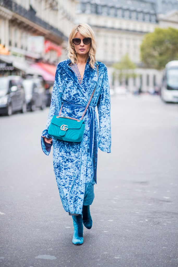 Go For a Full Velvet Look With a Blue Coat and Matching Ankle Boots