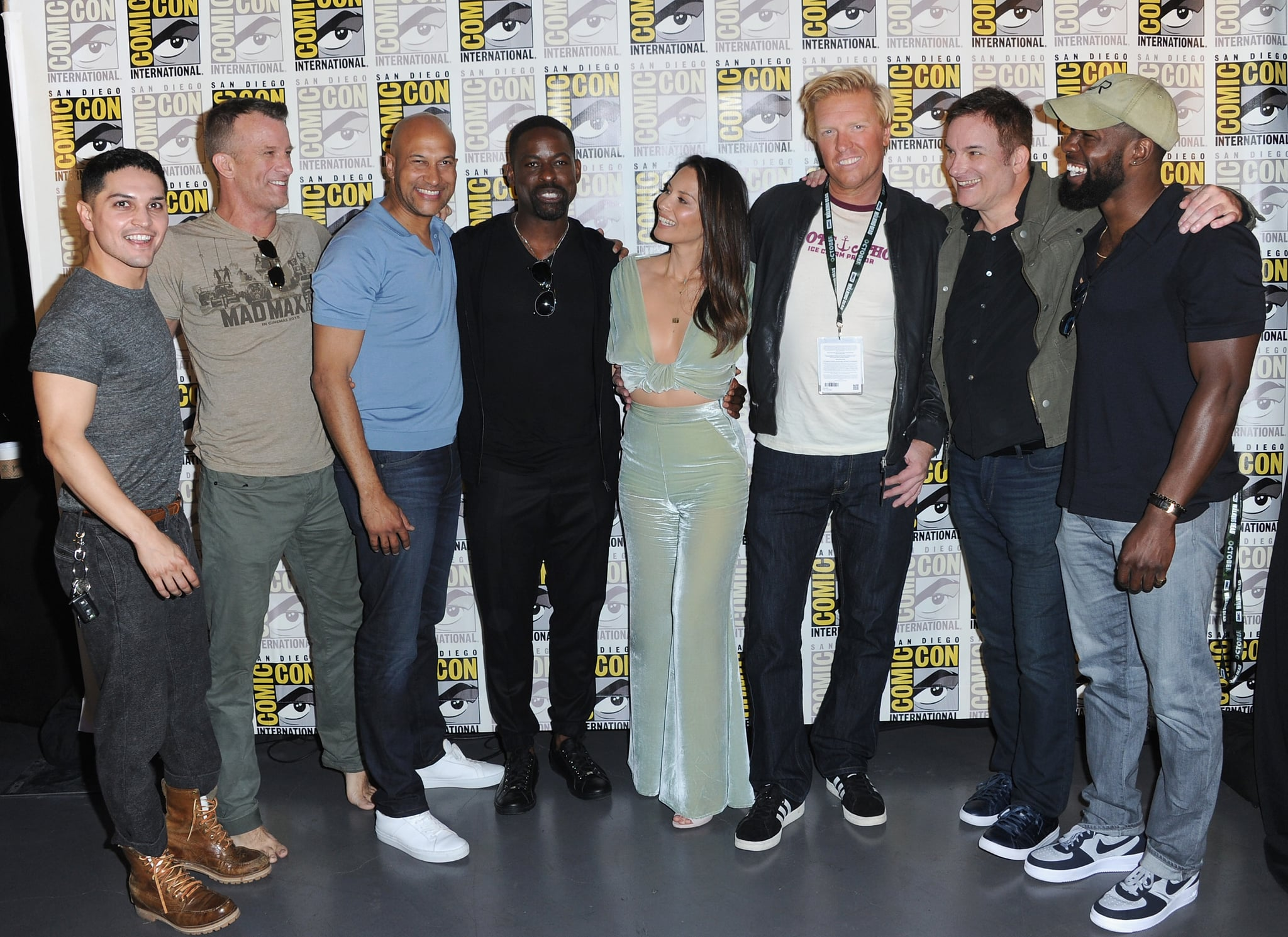 SAN DIEGO, CA - JULY 19:  (L-R) Augusto Aguilera, Thomas Jane, Keegan-Michael Key, Sterling K. Brown, Olivia Munn, Jake Busey, Shane Black, and Trevante Rhodes pose during the 20th Century Fox's