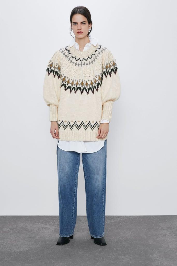 Zara Wool Blend Jacquard Sweater
