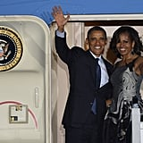 The first couple looked like they were in the midst of a romantic getaway during an Air Force One photo op in Berlin this June.