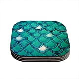"Theresa Giolzetti ""Mermaid Tail"" Teal Blue Coasters ($19)"