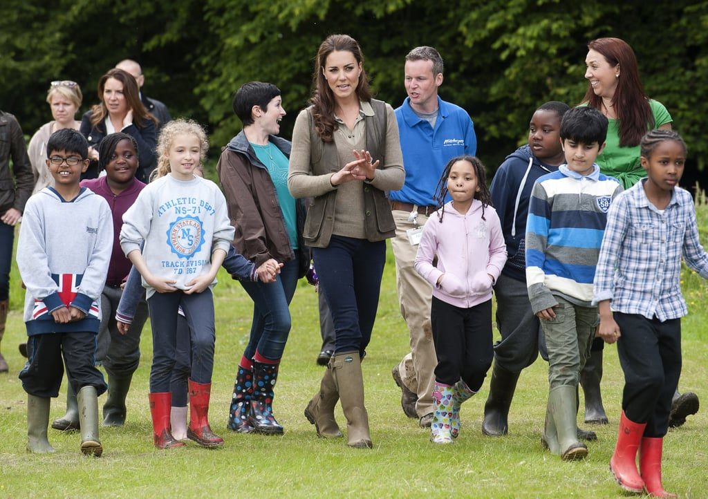 Kate Middleton took a walk with children from Expanding Horizons primary school outdoor camp.