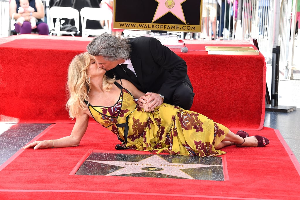 "Kurt Russell and Goldie Hawn brought their star power to the Hollywood Walk of Fame in LA on Thursday. The longtime couple were honoured for their extensive careers by Reese Witherspoon, Quentin Tarantino, and their daughter, Kate Hudson, as they received stars on the legendary memorial walk and shared a sweet kiss before taking turns to speak at the podium. This week, Goldie's Snatched costar Amy Schumer shared a heart-melting video of her father being brought to tears while meeting Goldie, who is the ""love of his life."" The movie comes out on Mother's Day, and Kurt's new film, Guardians of the Galaxy Vol. 2, is released on Friday.       Related:                                                                                                           Bask in the Glory That Is Goldie Hawn and Kurt Russell's Relationship Evolution"