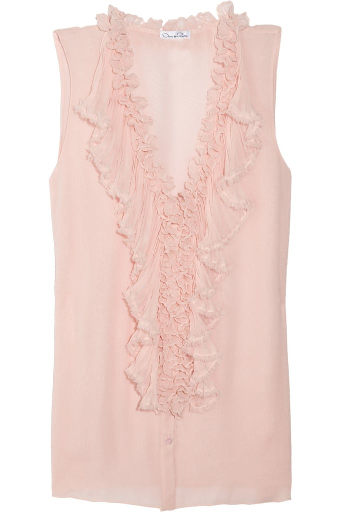 Oscar de la Renta for The Outnet ruffled silk-chiffon top ($340)