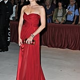 Violante Placido donned a siren red Alberta Ferretti number with matching red heels to the opening ceremony dinner. While the dress may be an eye-catching choice, we love that the sweetheart neckline softens the effect.