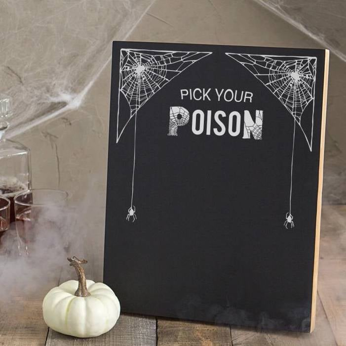 Cathys Concepts Pick Your Poison Chalkboard Halloween Decor - Cool chalkboard halloween decor