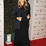 Molly topped her black maxi with a tuxedo-style blazer.