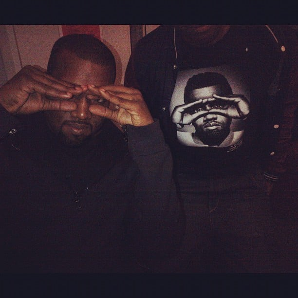 "Kim Kardashian snapped a photo of Kanye West backstage at the ""Watch the Throne"" concert in London.  Source: Instagram user kimkardashian"