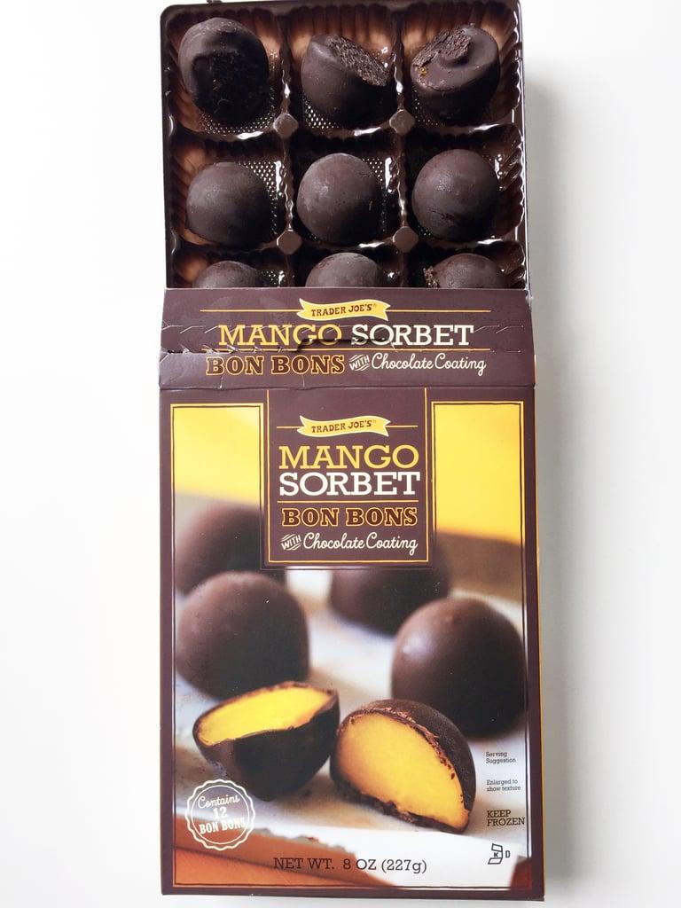 Pick Up: Mango Sorbet Bon Bons With Dark Chocolate Coating ($4)