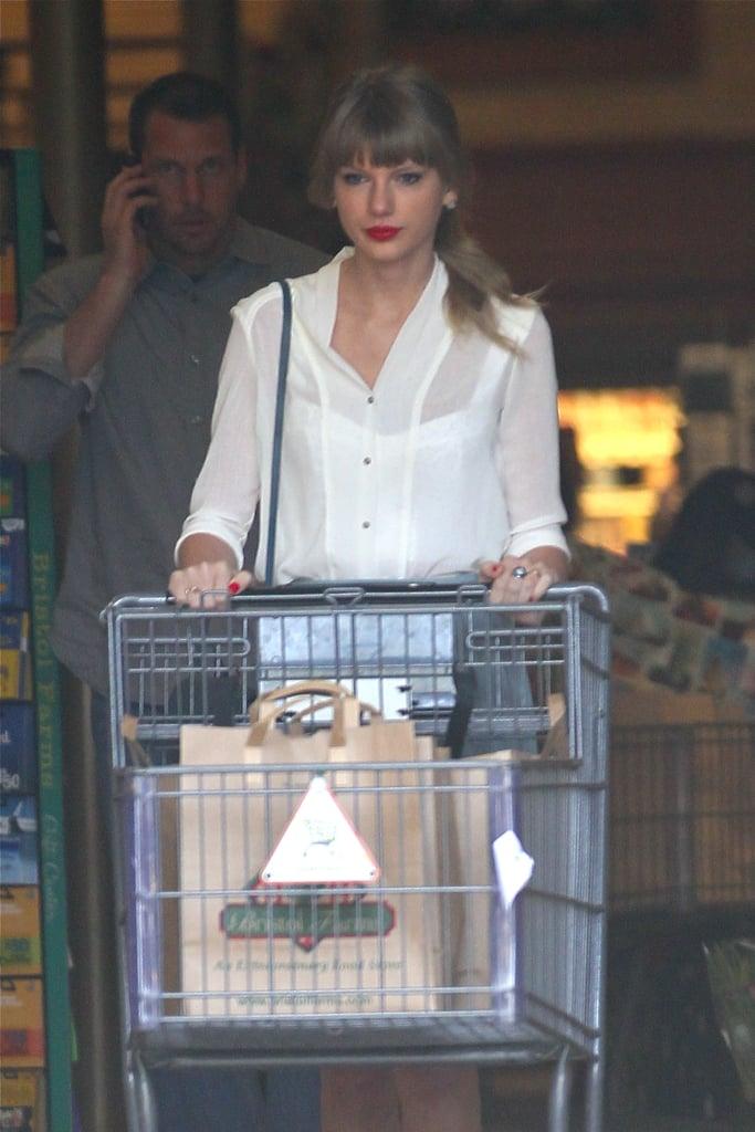 Taylor Swift left Bristol Farms in LA on Wednesday.