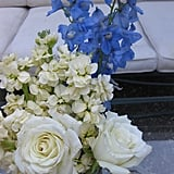 I purchased the flowers at the San Francisco Flower Mart on Friday morning and kept them in large bins until Saturday afternoon when my sister, floral designer extraordinaire, arranged them in low jars.