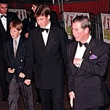 Prince Charles graciously brought sons Harry and William along to the premiere of Spice World in 1997.