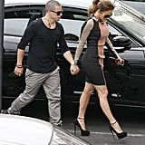 Casper Smart and Jennifer Lopez were hand in hand on the way to a press conference in LA.