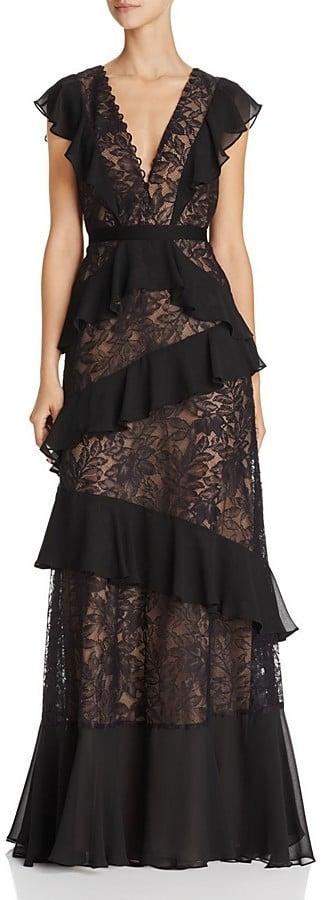 BCBGMAXAZRIA Ruffle Lace Gown