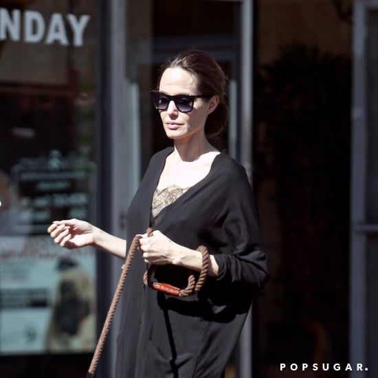 Angelina Jolie Wearing Black Everlane Heels