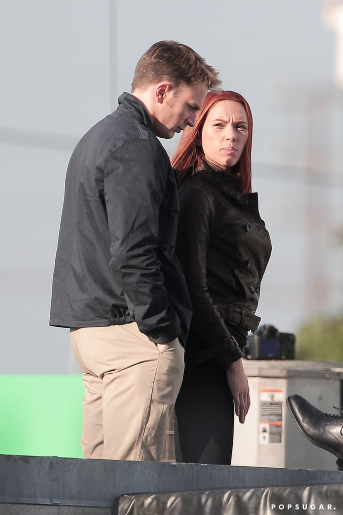 Scarlett Kicks Captain America Filming Into High Gear With Chris Evans