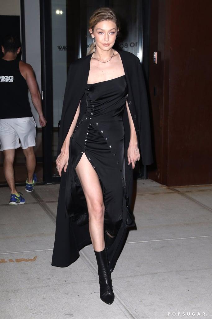 Gigi Hadid Wearing Black Paco Rabanne Dress