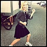 Angela Kinsey took her morning walk on the set of The Office. Source: Instagram user angekinz